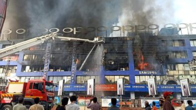 Lahore's Hafeez Center still in flames